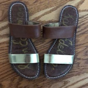 Sam Edelman brown and gold slides